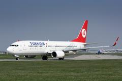 B737 Turkish Airlines taxi to takes off PRG Stock Photos