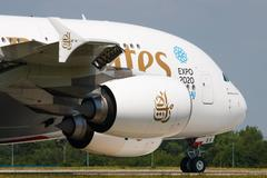 Airbus A380-800 Emirates lands to PRG Stock Photos