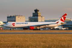 Airbus A330-300 CSA registration OK-YBA take off from PRG airport Stock Photos