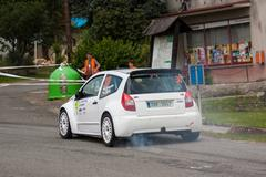 Driver Vrkoslav J. and co driver Rada J. in Citroen C2 S1600 Stock Photos