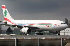 MEA Airbus A330 taxis to take off Stock Photos