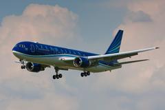 Azerbaijan Airlines Boeing B767 lands to Prague Stock Photos