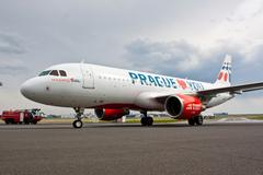 Holidays Czech Airlines Airbus A320-214 taxis to apron Stock Photos