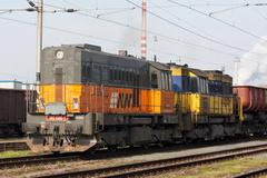 AWT cargo train arrive to railway station Ostrava Stock Photos
