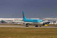 Korean Air Airbus A330 lands at PRG Airport Stock Photos