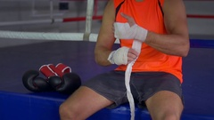 Fighter Prepares for Training Stock Footage