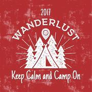 Wanderlust Camping badge. Old school hand drawn t shirt Print Apparel Graphics Stock Illustration