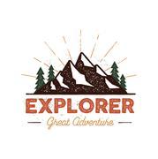 Outdoor explorer badge. Retro illustration of outdoor explorer label. Typography Stock Illustration