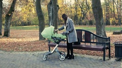 Young mother walking with a carriage in autumn park. Stock Footage