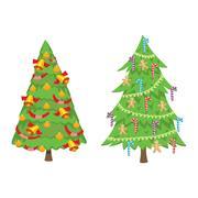 Christmas tree vector set Stock Illustration