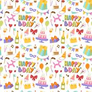 Happy birthday seamless pattern vector Stock Illustration