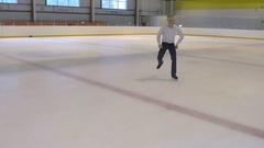 Figure Skater Performs Exercises On the Ice Stock Footage