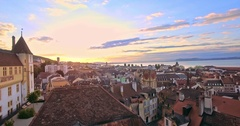 Aerial view of Vintage Bell-Tower in Neuchatel city at sunny day, Switzerland Stock Footage