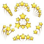 Golden stars design element set Stock Illustration
