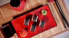 Traditional Japanese Food Sushi Stock Footage