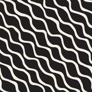 Vector Seamless Black and White Hand Drawn ZigZag Diagonal Stripes Pattern Stock Illustration