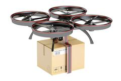 Delivery drone with a parcel, 3D rendering Stock Illustration