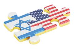USA and Israel puzzles from flags, relation concept. 3D rendering Stock Illustration