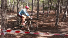 Cross-country Bicycle Competition in the Forest Stock Footage