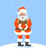 Santa Claus singing Christmas carols Stock Illustration