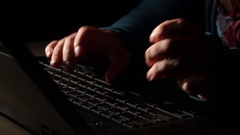 Close-up. Woman typing text Stock Footage