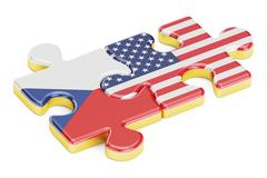 USA and Czech Republic puzzles from flags, relation concept. 3D rendering Stock Illustration