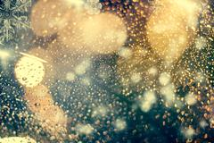 Abstract Christmas background with holiday lights Stock Photos