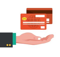 Hand with credit cards banking Piirros