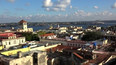 Old Havana skyline with the harbor, Sierra Maestra sea Terminal, Orthodox Church Stock Footage