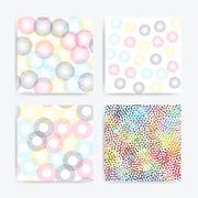 Color universal geometric seamless patterns set Stock Illustration