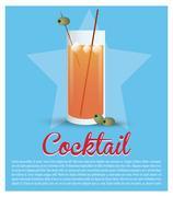 Cocktail glass ice olive star background Stock Illustration