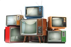 Heap of retro TV sets isolated on white background. Stock Illustration