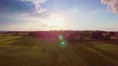 Field green grass scenery horizon flatland meadow sunny sky sunlight sun Stock Footage
