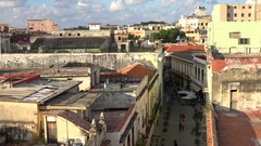 Top view of the Mercaderes street in the Old Havana (La Habana Vieja). Cuba Stock Footage