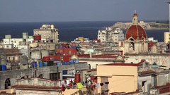 Central Havana skyline with the Church and Convent of Our Lady of Carmen Stock Footage