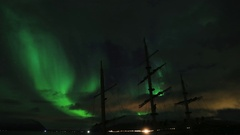 Arctic Aurora Northern Lights over ship masts ProRes Stock Footage
