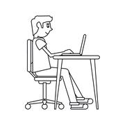 Pictogram man working front computer with pc Stock Illustration