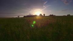 Aerial beautiful field green grass horizon lowland pasture sky sunlight sunset Stock Footage
