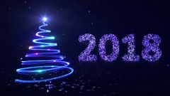 New year background with bright snow and a christmas tree. Blue. 2018. Stock Footage