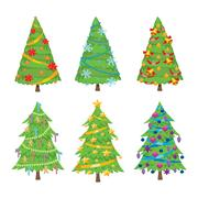 Christmas tree vector set Stock Illustration