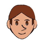 Drawing young face guy brown hair smile Stock Illustration