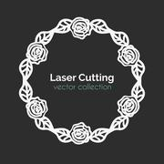 Laser Cutting Template. Round Card with Roses Stock Illustration