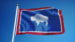 Wyoming (U.S. state) flag in slow motion seamlessly looped with alpha Arkistovideo