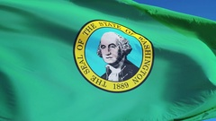 Washington (U.S. state) flag in slow motion seamlessly looped with alpha Stock Footage