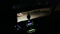 Desert Safari SUVs bashing through the arabian sand dunes. Night Stock Footage