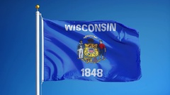 Wisconsin (U.S. state) flag in slow motion seamlessly looped with alpha Stock Footage