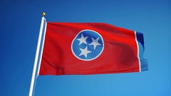 Tennessee (U.S. state) flag in slow motion seamlessly looped with alpha Stock Footage