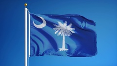 South Carolina (U.S. state) flag in slow motion seamlessly looped with alpha Stock Footage