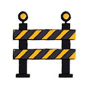 Barrier restricted street stripe design drawing Stock Illustration