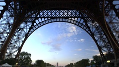 Concentric geometry - tilt up, down exact middle of Eiffel Tower Paris Stock Footage